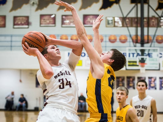 Delta defeated Wes-Del during the Delaware County tournament championship game at Delta High School Saturday, Jan. 14, 2017.