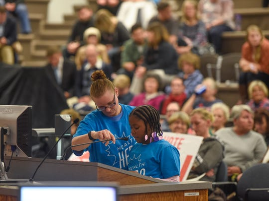 Children speak during a public hearing on a proposed vote on raising the age to purchase tobacco to 21 Monday, Nov. 6, during the St. Cloud City Council meeting at city hall.