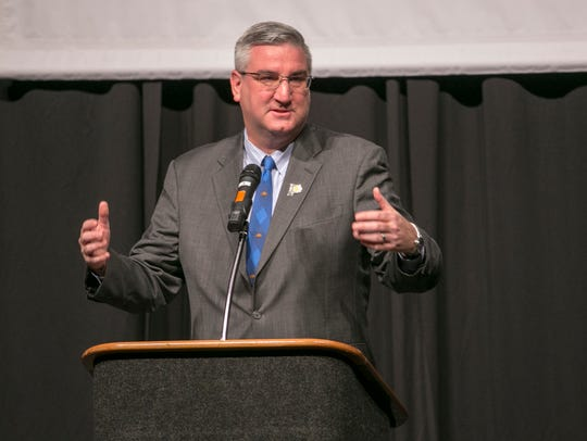 Eric Holcomb, Indiana governor, speaks at the BGD Legislative
