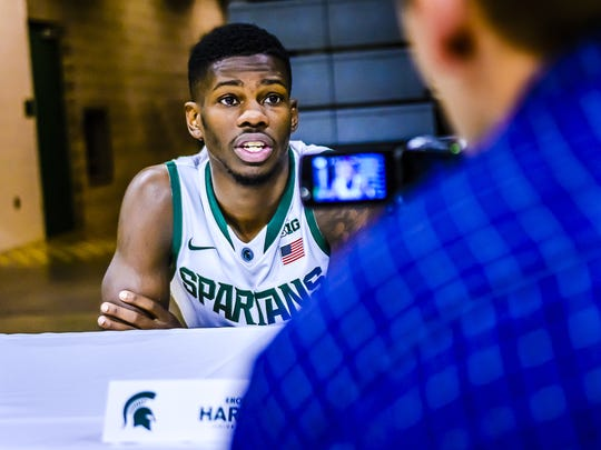 MSU guard Eron Harris, a transfer from West Virginia, talks to reporters during media day at Breslin Center.