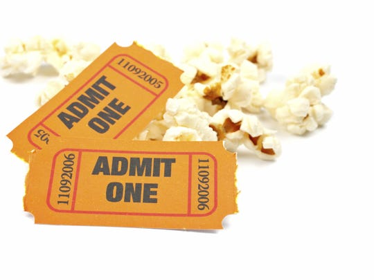 Popcorn and two tickets.