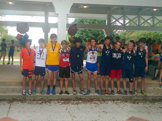 Saint James School Boys Cross Country Competitors at Tiger Classic in Auburn.