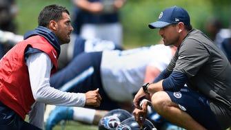 Titans quarterback Marcus Mariota (8) talks with offensive coordinator Matt LaFleur during practice at Saint Thomas Sports Park Tuesday, May 22, 2018, in Nashville, Tenn.