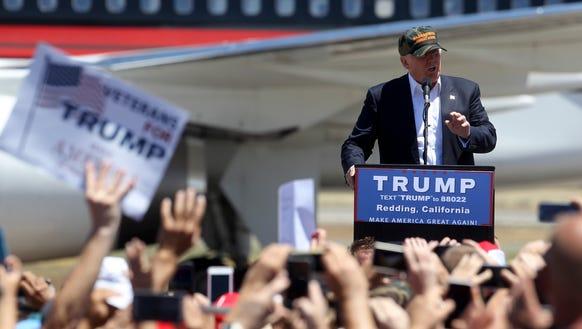 Donald Trump speaks in Redding, Calif., on June 3,