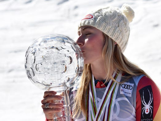 Mikaela Shiffrin of the United States with her World