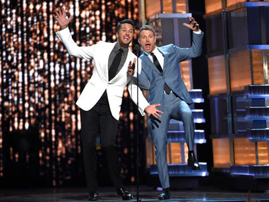 Hosts Luke Bryan, left, and Dierks Bentley present a performance by Florida Georgia Line and Backstreet Boys at the 52nd annual Academy of Country Music Awards at the T-Mobile Arena on Sunday, April 2, 2017, in Las Vegas.