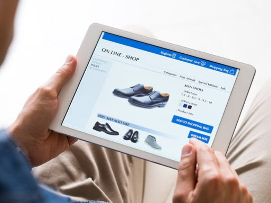 Online shoe store on tablet