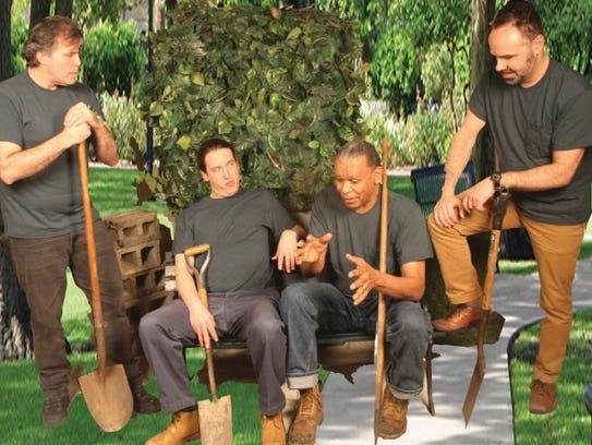 """Mark Bishop, Aaron Kottke, Harold Hogan and Samer Ajluni in """"Harmony Park"""" at Detroit Repertory Theatre."""