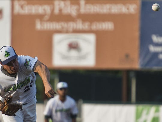 Vermont Lake Monsters pitcher Evan Manarino throws against the Mahoning Valley Scrappers Wednesday night, July 8, 2015, at Centennial Field in Burlington.