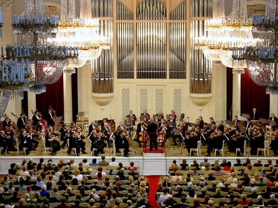 A balcony view of the St Petersburg Philharmonic Orchestra.