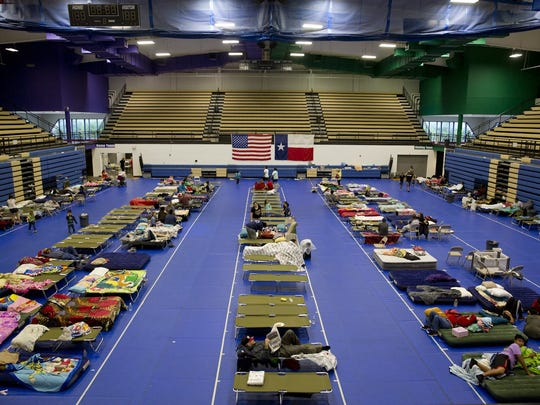 The Red Cross aided with the setup of a shelter at the Delco Center in Austin. The shelter helped people in need after Hurricane Harvey hit the Texas coast in August.