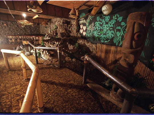 The stairs and waterfall as seen Nov. 4, 2002 inside the since-demolished Chin Tiki restaurant in downtown Detroit.