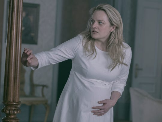 "Elisabeth Moss as Offred/June on ""The Handmaid's Tale."""