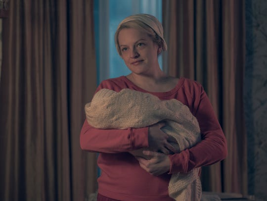 "Elisabeth Moss as June on ""The Handmaid's Tale."""