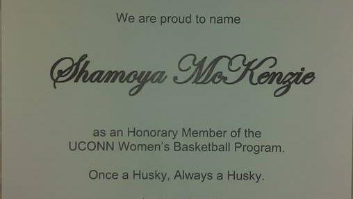 UConn sent a letter to Shamoya McKenzie's family, recognizing her as an honorary member of the women's basketball program.
