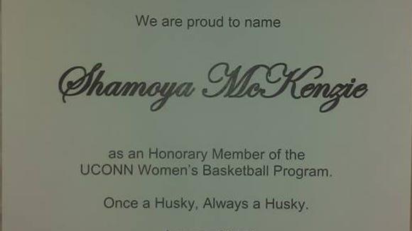 UConn sent a letter to Shamoya McKenzie's family, recognizing