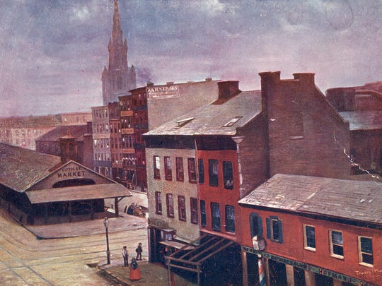 The Fifth Street Market predated Fountain Square at Fifth and Vine streets. The site had been given to the city to be used as a marketplace, but through some legal wrangling, the courts declared the new Fountain Square could qualify as a market space, and the butcher's stalls were cleared in three hours.