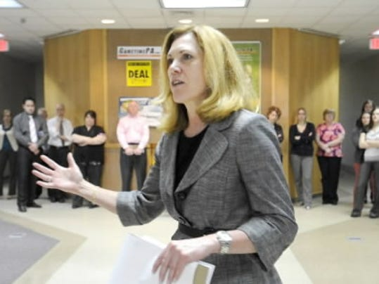 Sara Glines meets with York Daily Record staff in this April file photo.