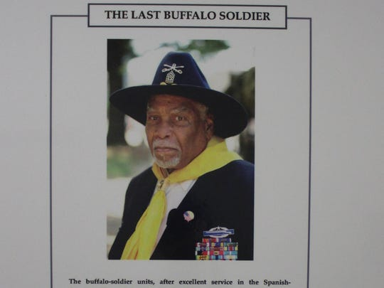 """A photo of Mark Matthews, the last Buffalo Soldier, is one of the pieces in the """"Black Cowboys and Buffalo Soldiers"""" exhibit in the Newtonville location of the African-American Heritage Museum of Southern New Jersey."""