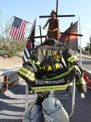 The New Mexico Patriot Guard towed the metal sculpture