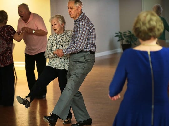 Ginger Webb, 75, and James Webb, 79, take a turn around the floor at the Bartlett Senior Center during a seniors dance Tuesday afternoon. There is a need for senior activities in the greater Memphis area where census figures show that the elderly population is growing 10 times faster than the area as a whole.