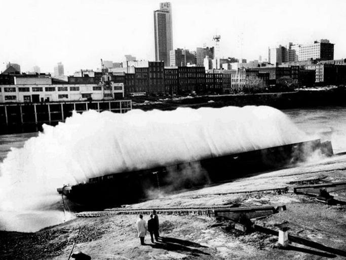 Officials of Nashville Bridge Co. watch the launching of the 100th ...