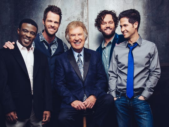 Wes Hampton, seen here on the far right with the rest of the Gaither Vocal Band, will perform as a solo act at A Night of Glory for Lori at West Jackson Baptist Church on June 15.