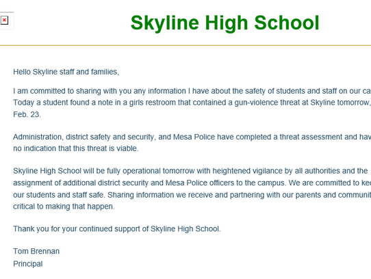 A screenshot shows the email sent from Skyline High