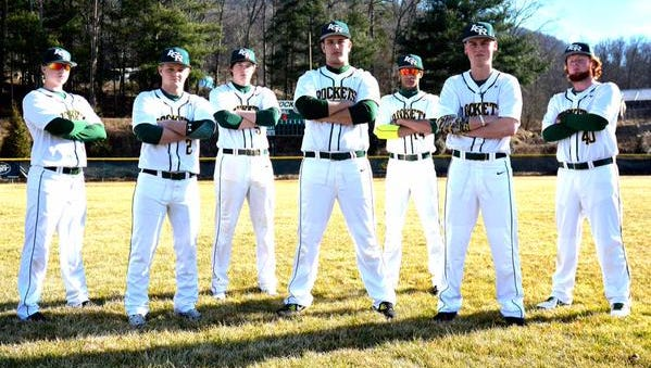 The Reynolds baseball team's seniors. The Rockets beat two first-place teams last week, Roberson and Smoky Mountain.