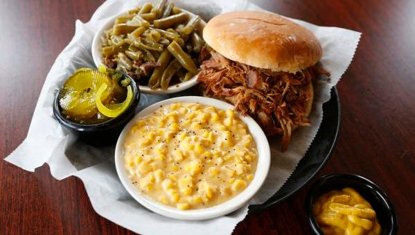 The pulled pork sandwich at Momma's Mustard, Pickles & BBQ.  April 14, 2015.