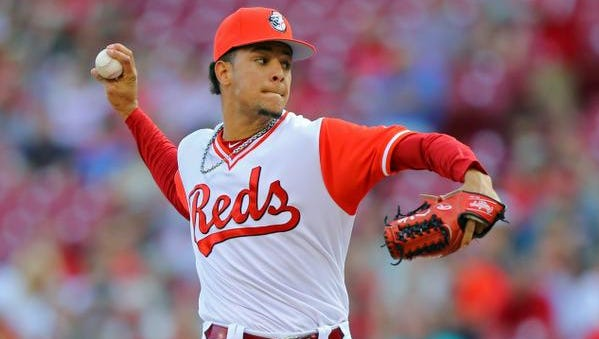 Aug 26, 2017; Cincinnati, OH, USA; Cincinnati Reds starting pitcher Luis Castillo (58) throws against the Pittsburgh Pirates in the first inning at Great American Ball Park. Mandatory Credit: Aaron Doster-USA TODAY Sports