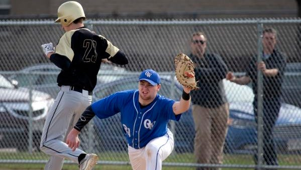 Oshkosh West's Michael McBriar catches the ball to get Oshkosh North's Dylan Krumrel out on May 1, 2018, at Peppler Field.