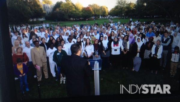 Well-wishers, clad in white as a symbol of peace, gathered at Butler University Wednesday evening to pray for the safe return of a former student, Abdul-Rahman Kassig.