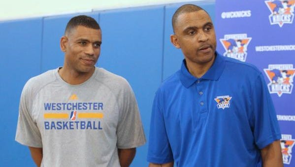 Westchester Knicks General Manager Allan Houston, left, was at Children's Village in Dobbs Ferry to introduce the team's new head coach, Kevin Whitted  Oct. 9, 2014.