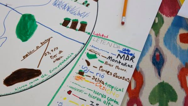 Details of a student's work at the Washington Irving Intermediate School fourth grade dual language class on Nov. 10, 2014.