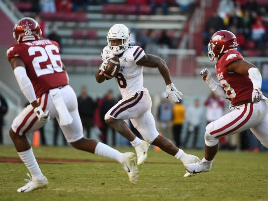 Mississippi State running back Kylin Hill hopes to find as much running room against Alabama as he did against Arkansas.