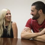Arizona Diamondbacks pitcher Robbie Ray and his wife Taylor answer questions during an interview at Chase Field July 20, 2015.