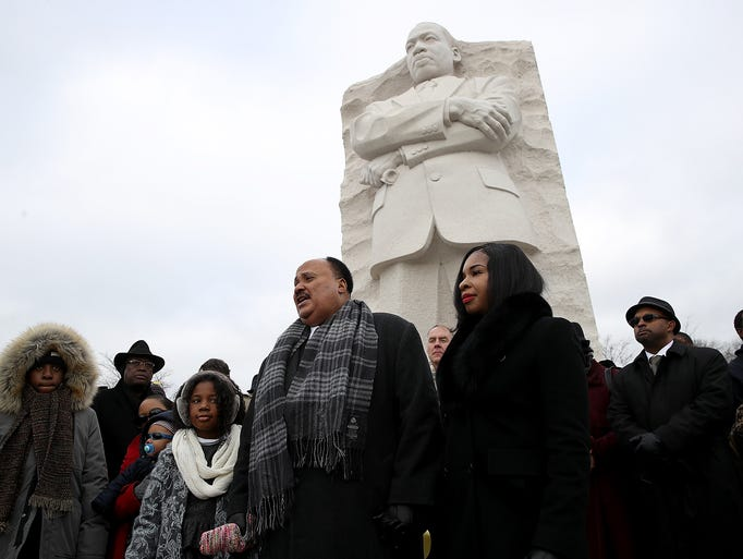 Martin Luther King III speaks in front of the Martin