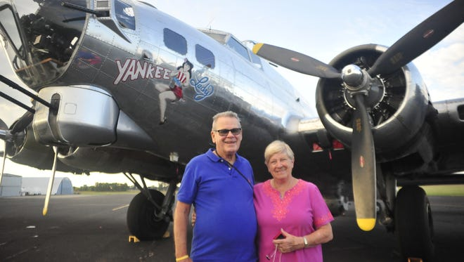 Don and Erika Rich visited the B-17 on Saturday in Marion.