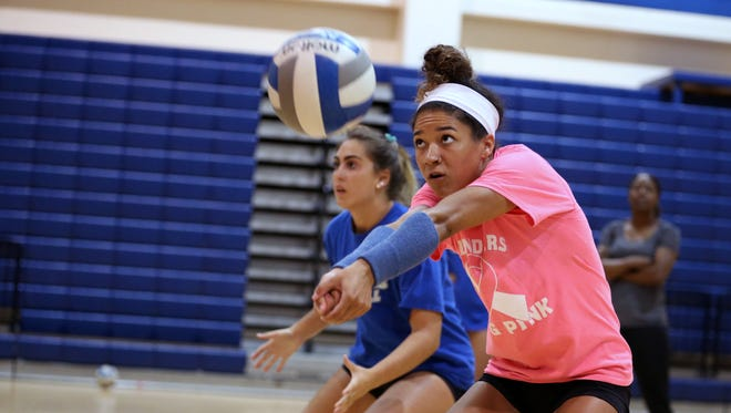 Texas A&M-Corpus Christi Islander volleyball player Madison Woods participates in practice on Tuesday, October 10, 2017. She was named the Southland Conference defensive player of the week last week.