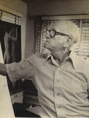 Artist Antonio E. Garcia at work in May 1976.