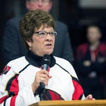 Broome County Executive Debbie Preston speaks during an announcement that the Binghamton Senators will extend their lease at Floyd L. Maines Veterans Memorial Arena through the 2018-19 season in this January 2016 photo.