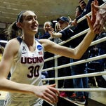 Connecticut Huskies forward Breanna Stewart exits the court for the last time at Gample Pavillion.