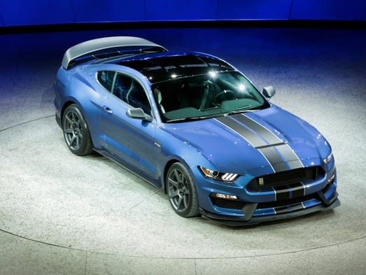 The  Shelby GT350R Mustang is introduced at  the 2015