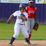 Byrd senior Tia Timerding (10) prepares to leave second base in front of Haughton's Leah Hopson during Wednesday's game at Byrd.