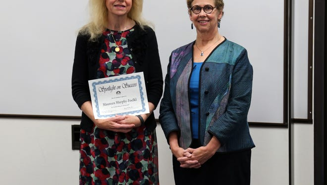 Maureen Murphy-Foelkl, left, was a recipient of the Presidential Awards for Excellence in Mathematics and Science Teaching in the summer of 2016. She was recognized at the September Salem-Keizer School Board meeting. Foelkl is photographed here with Board Chair Nancy MacMorris-Adix, right.