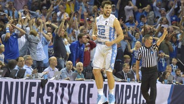 North Carolina Tar Heels forward Luke Maye (32) reacts after making a basket with .3 seconds left against the Kentucky Wildcats in the second half during the finals of the South Regional of the 2017 NCAA Tournament at FedExForum on March 26.