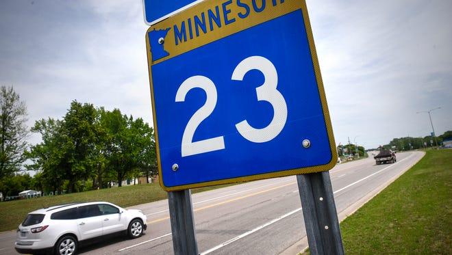 Traffic moves along Minnesota Highway 23 Thursday, June 7, in Richmond. Funding to expand the highway to four lanes from Richmond to Paynesville and from Paynesville to New London was approved in May.