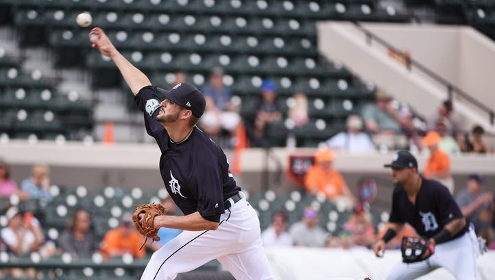 Tigers non-roster pitcher Myles Jaye works in the first inning.