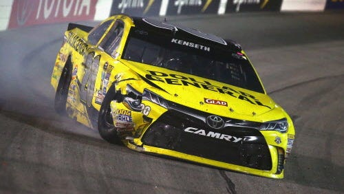 Matt Kenseth  is seen after being involved in an on-track incident during the NASCAR Sprint Cup Series Federated Auto Parts 400 at Richmond International Raceway on September 10, 2016 in Richmond, Virginia.